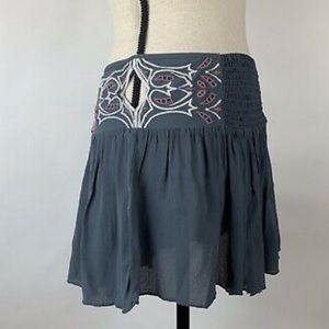 FREE PEOPLE GRAY EMBROIDERED SHORTS